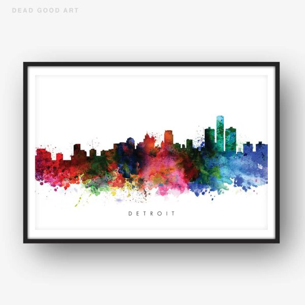 detroit skyline multi color watercolor print