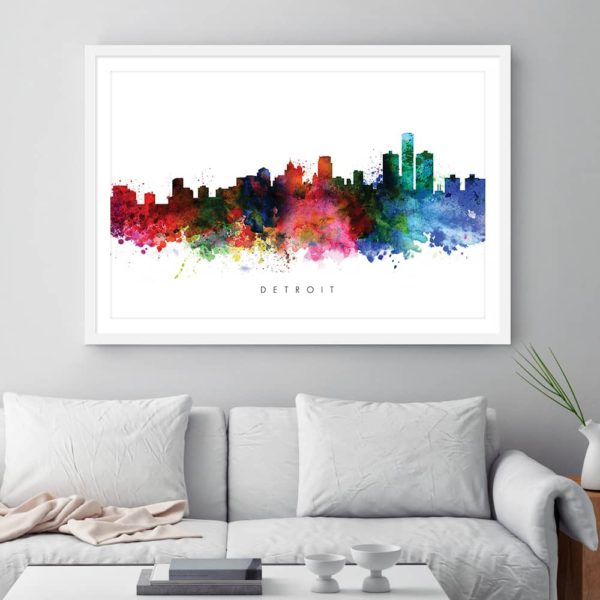 detroit skyline multi color watercolor print framed