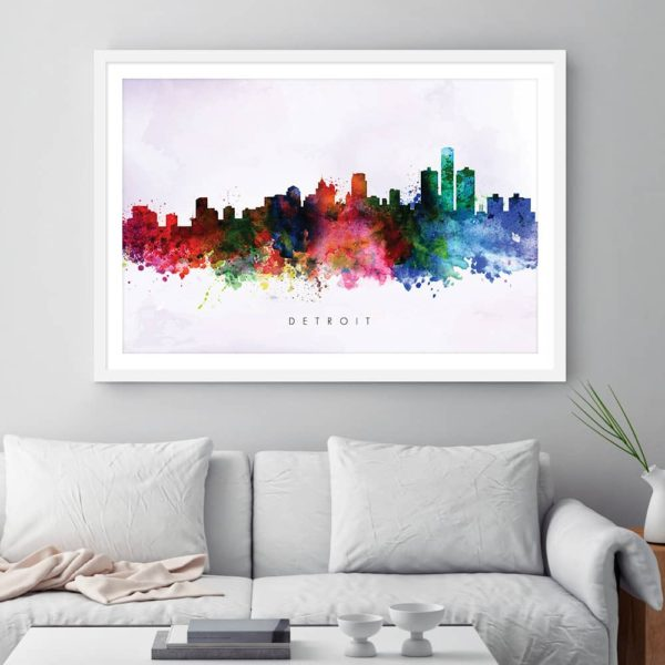 detroit skyline purple wash watercolor print framed