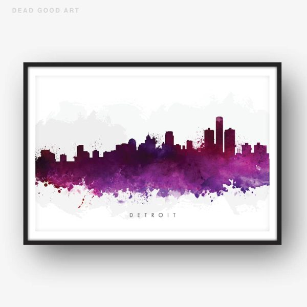 detroit skyline purple watercolor print