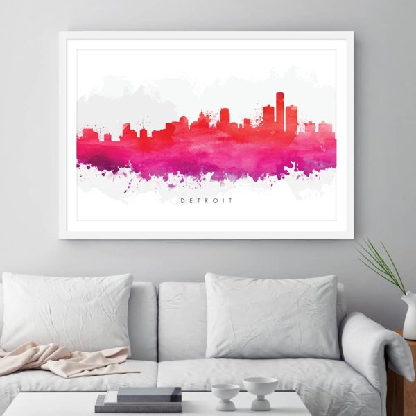detroit skyline purple watercolor print framed 1