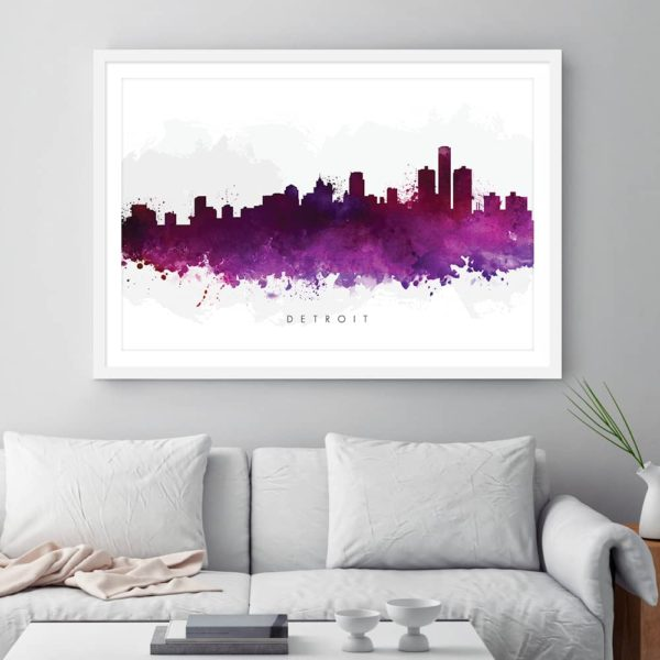 detroit skyline purple watercolor print framed
