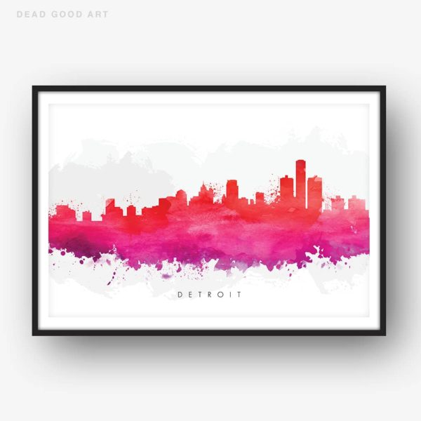 detroit skyline red watercolor print
