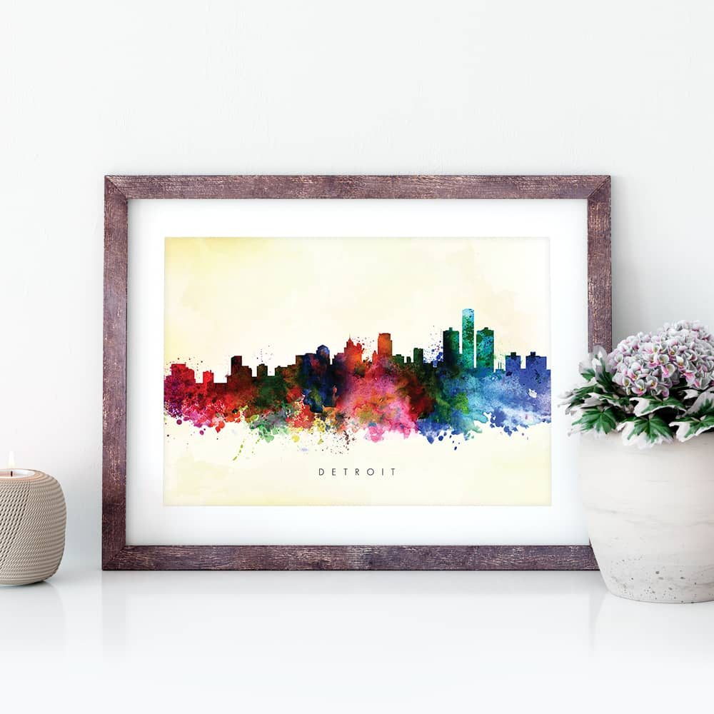 detroit skyline yellow wash watercolor print closeup