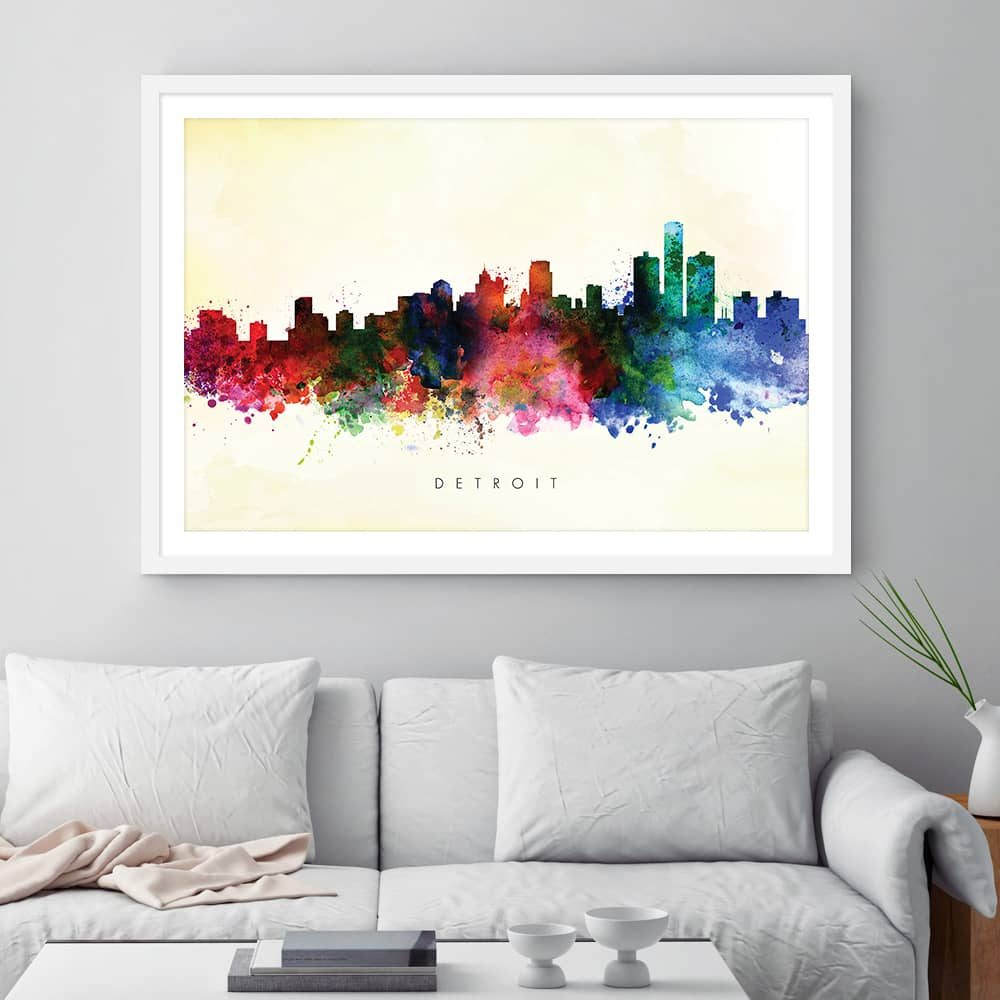 detroit skyline yellow wash watercolor print framed