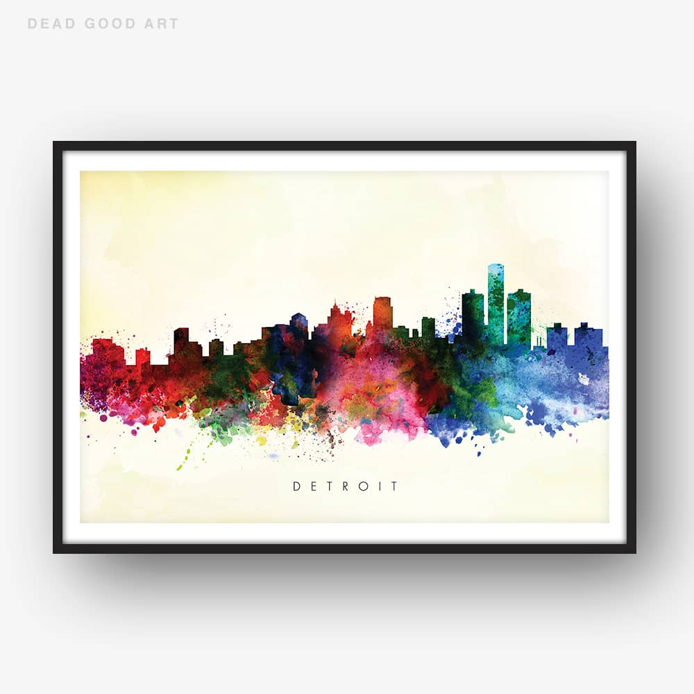 detroit skyline yellow wash watercolor print