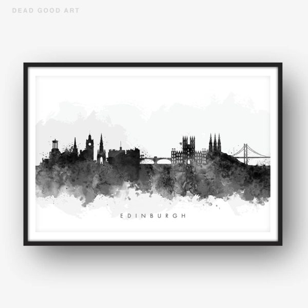 edinburgh skyline black white watercolor print