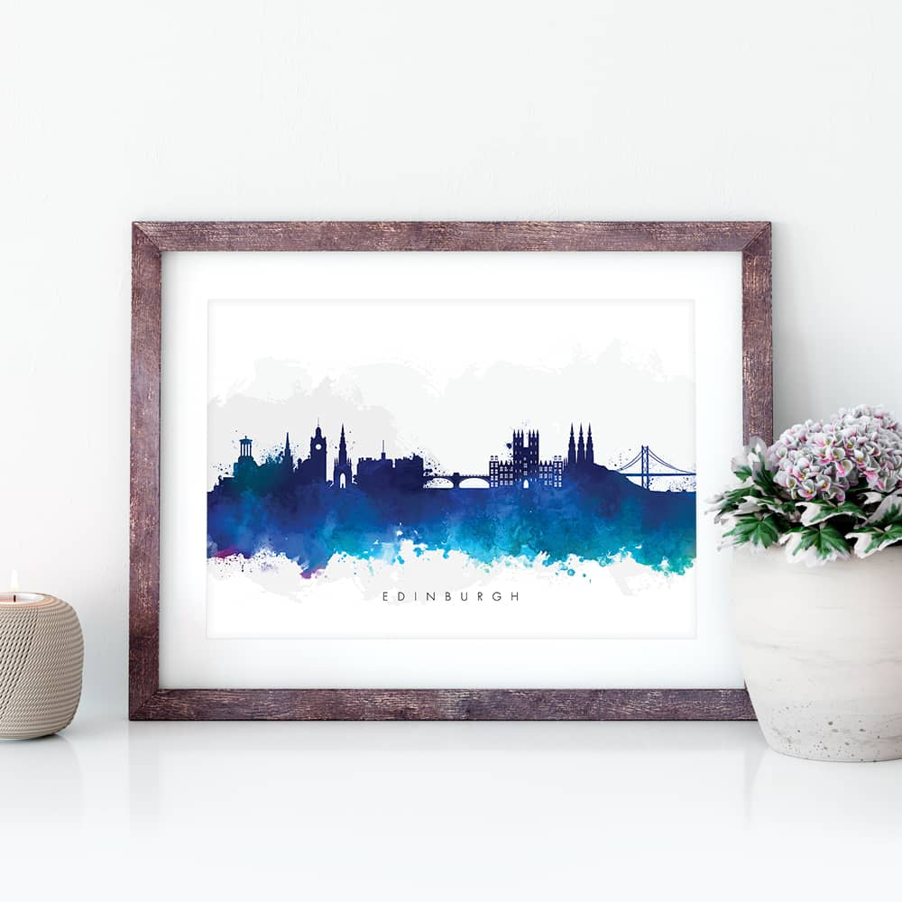 edinburgh skyline black white watercolor print closeup 1