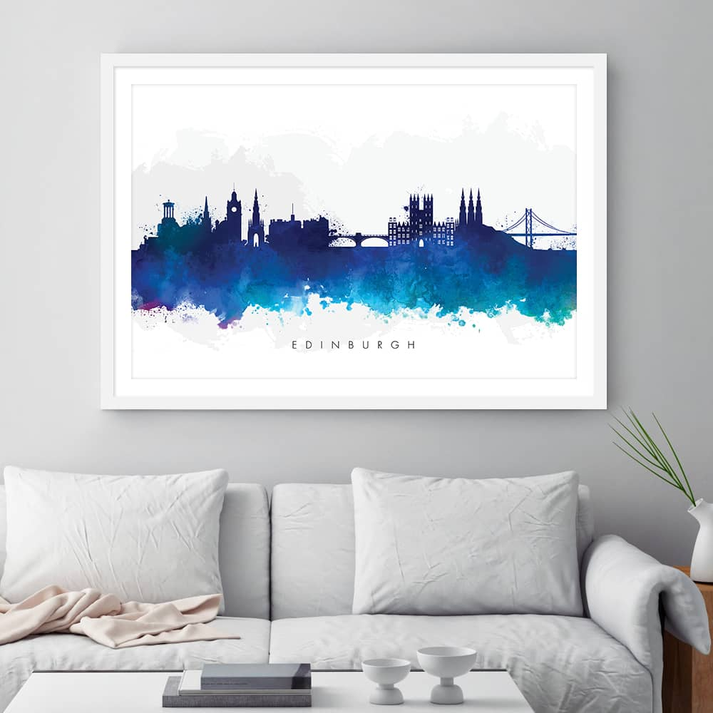 edinburgh skyline black white watercolor print framed 1