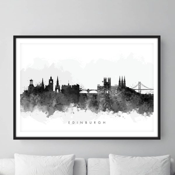 edinburgh skyline black white watercolor print framed