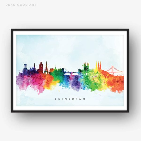 edinburgh skyline blue wash watercolor print
