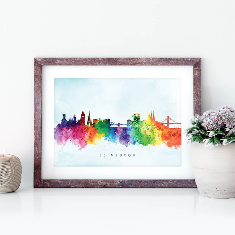 edinburgh skyline blue wash watercolor print closeup