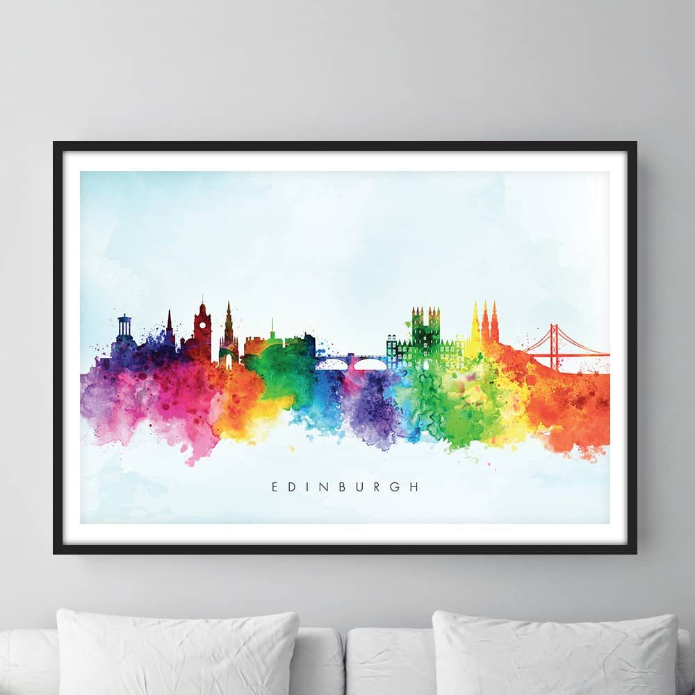 edinburgh skyline blue wash watercolor print framed