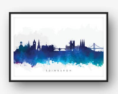 edinburgh skyline blue watercolor print