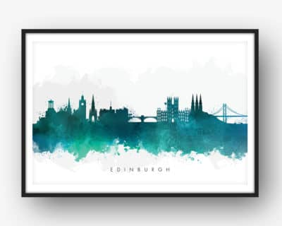 edinburgh skyline green watercolor print