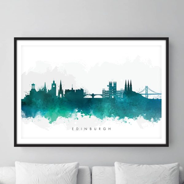edinburgh skyline green watercolor print framed