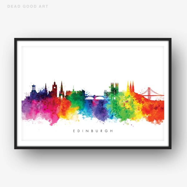 edinburgh skyline multi color watercolor print