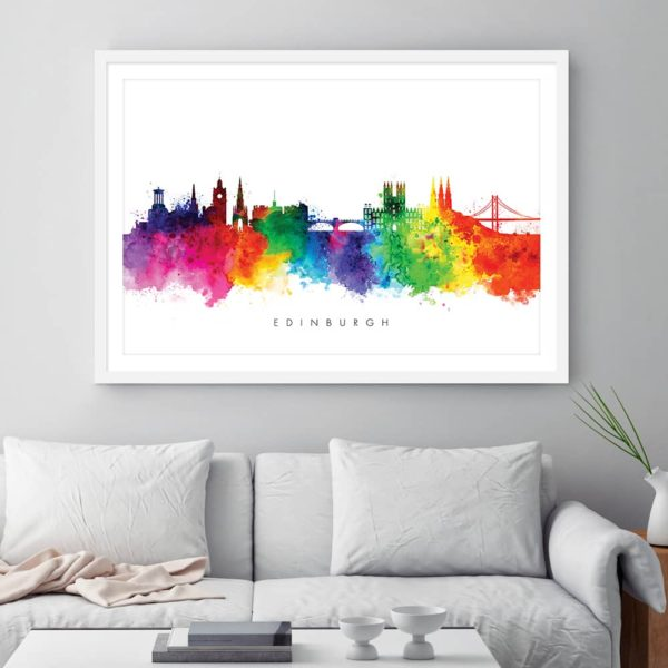 edinburgh skyline multi color watercolor print framed