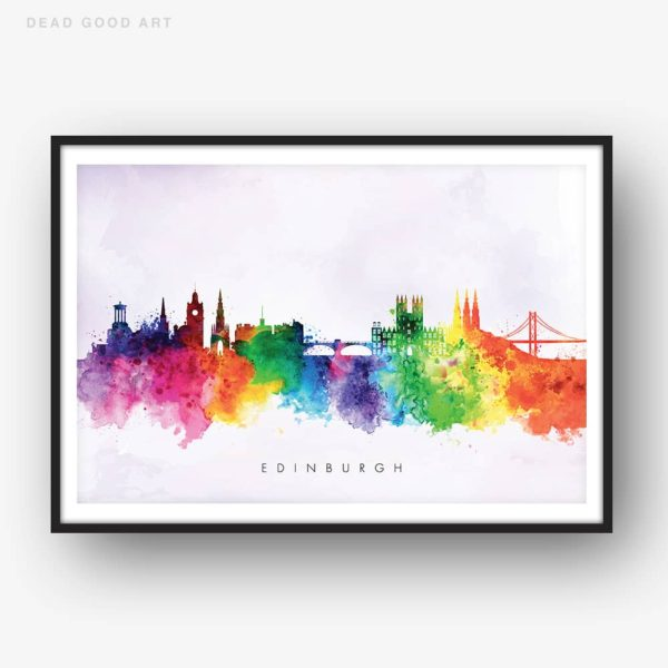 edinburgh skyline purple wash watercolor print