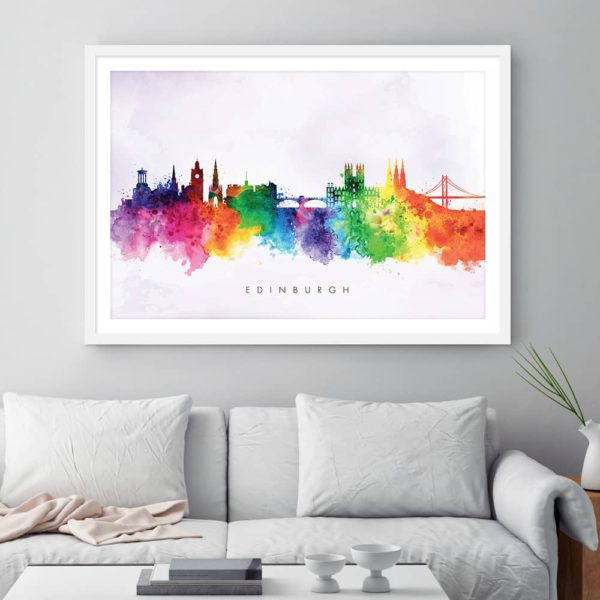edinburgh skyline purple wash watercolor print framed