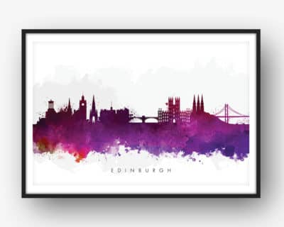 edinburgh skyline purple watercolor print
