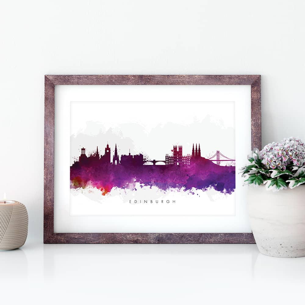 edinburgh skyline purple watercolor print closeup