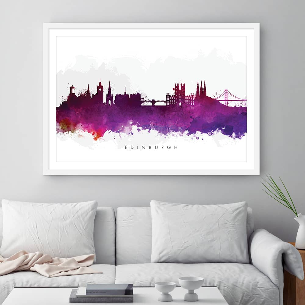 edinburgh skyline purple watercolor print framed