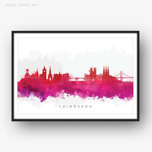 edinburgh skyline red watercolor print