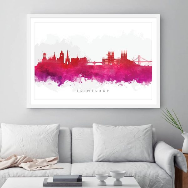 edinburgh skyline red watercolor print framed