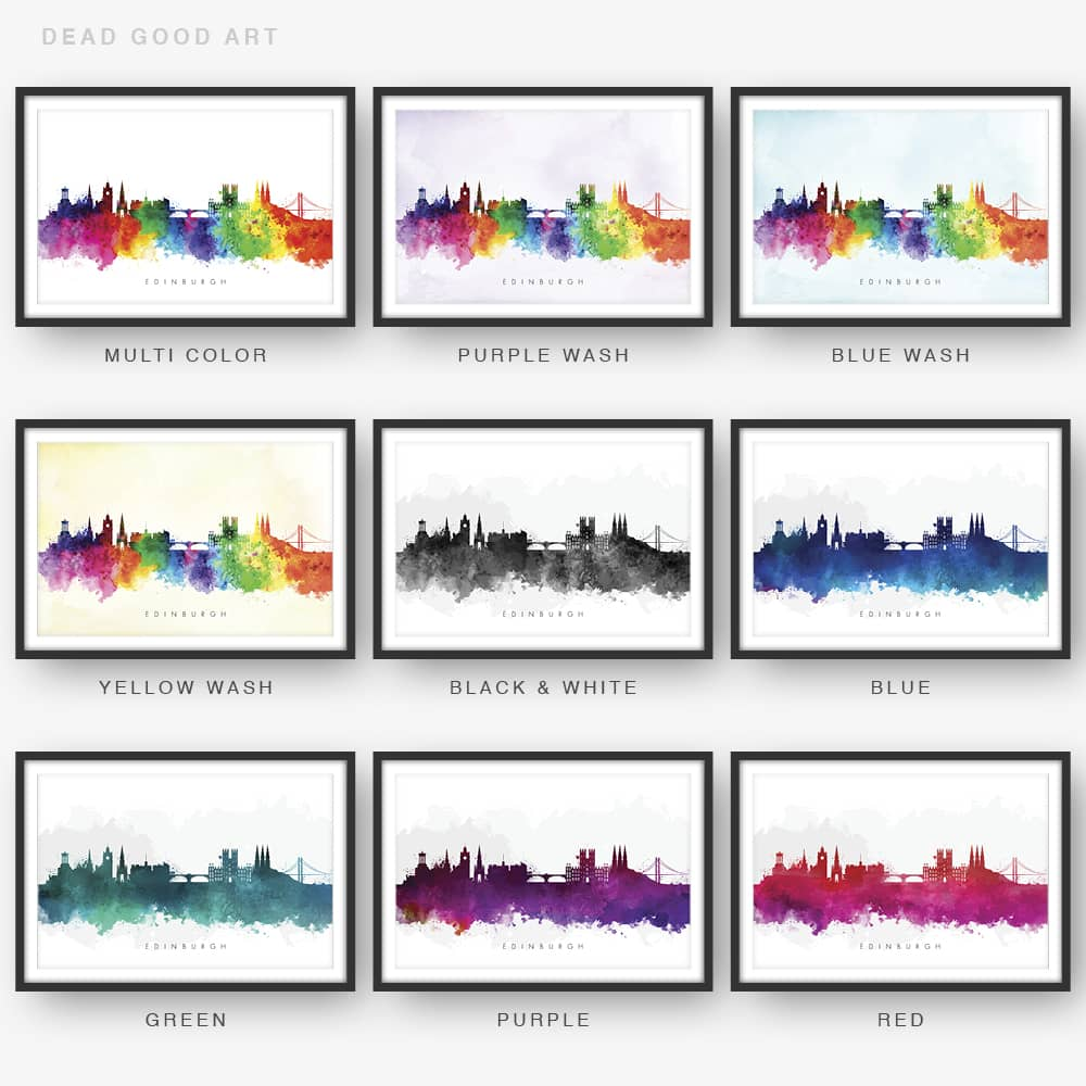 edinburgh skyline watercolor print 9 options