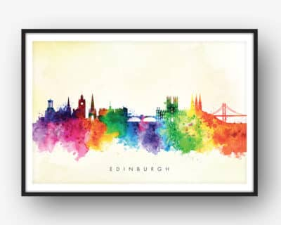 edinburgh skyline yellow wash watercolor print
