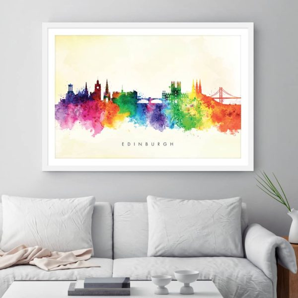 edinburgh skyline yellow wash watercolor print framed