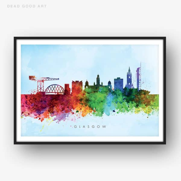 glasgow skyline blue wash watercolor print