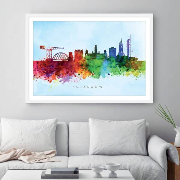 glasgow skyline blue wash watercolor print framed