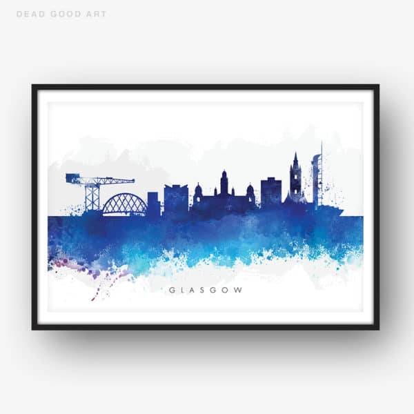 glasgow skyline blue watercolor print