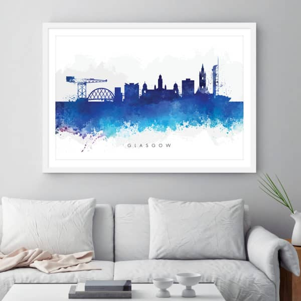 glasgow skyline blue watercolor print framed