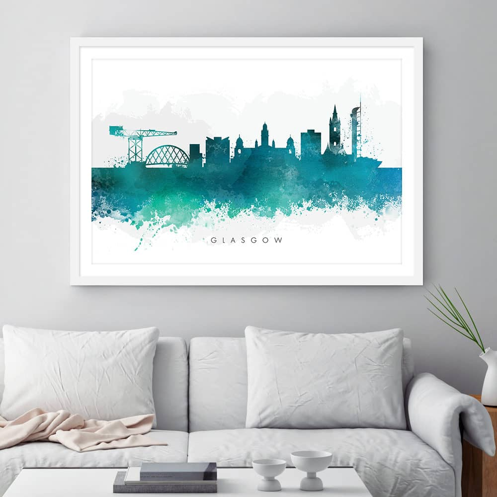 glasgow skyline green watercolor print framed