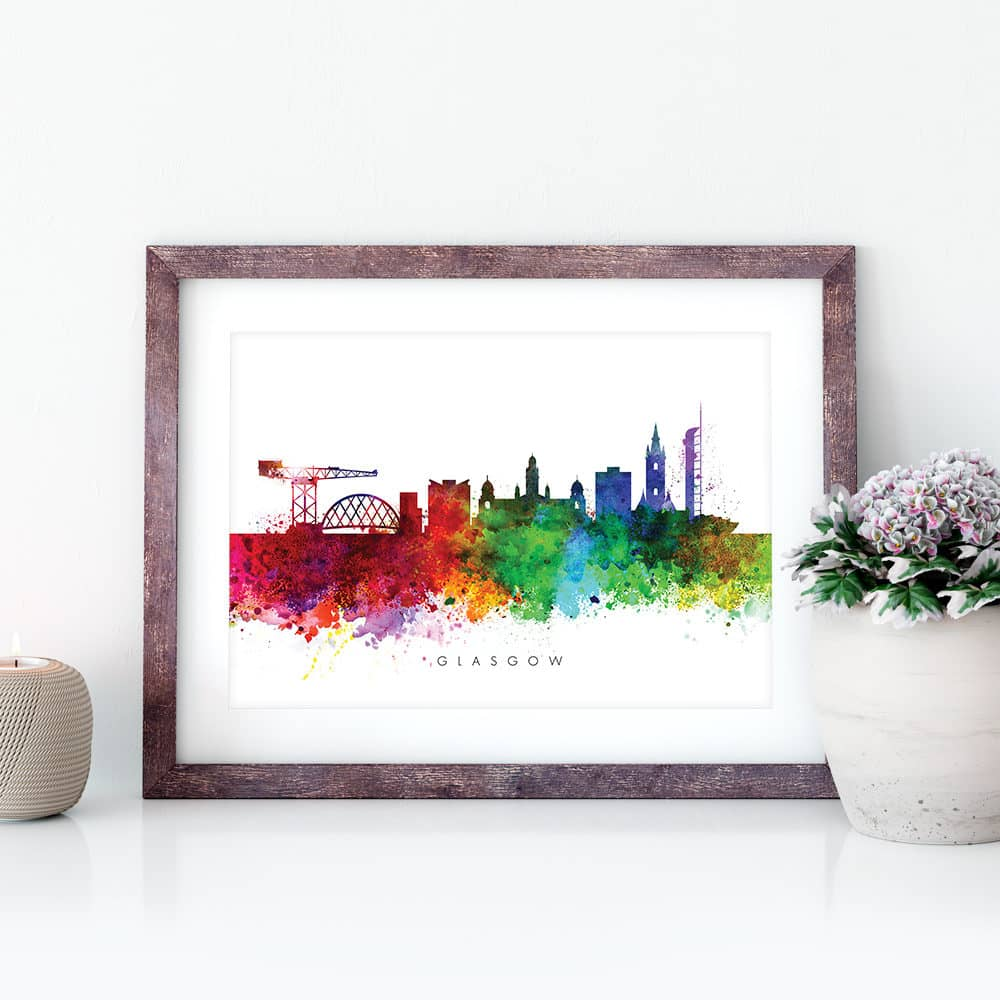 glasgow skyline multi color watercolor print closeup