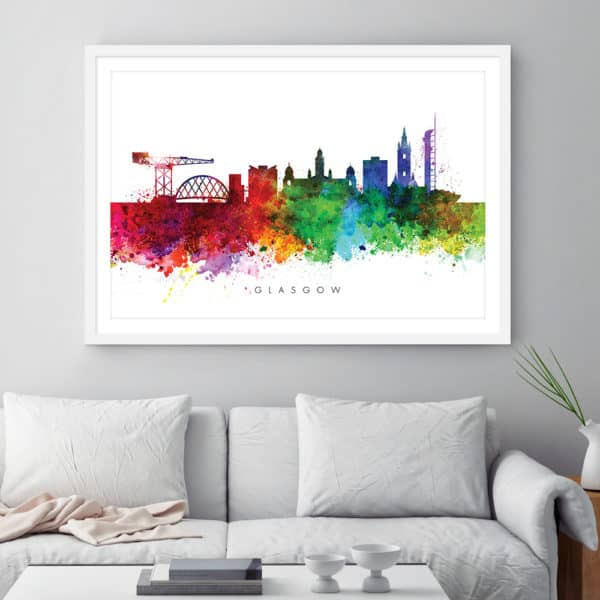 glasgow skyline multi color watercolor print framed
