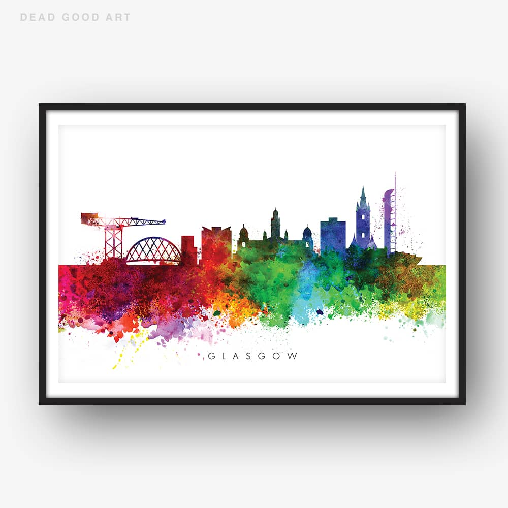 glasgow skyline multi color watercolor print