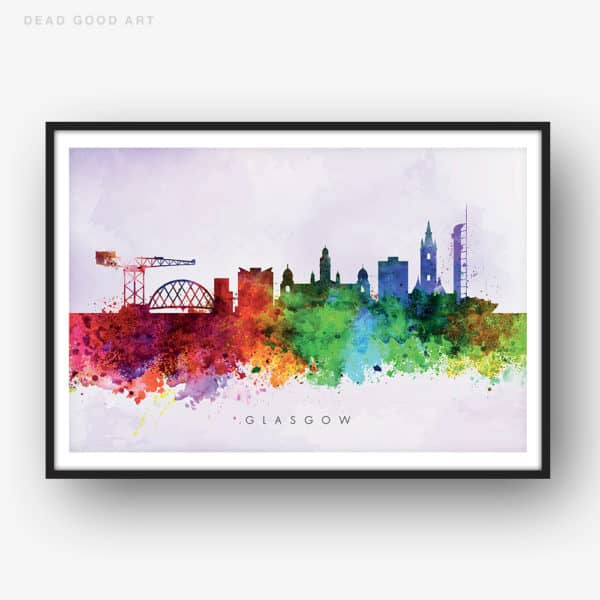 glasgow skyline purple wash watercolor print