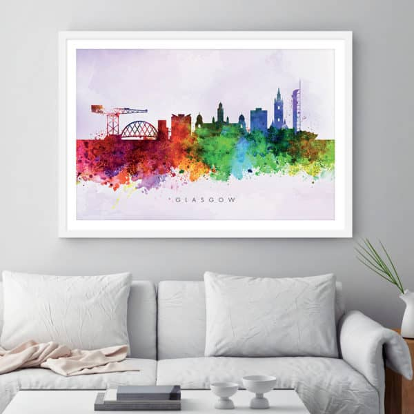 glasgow skyline purple wash watercolor print framed