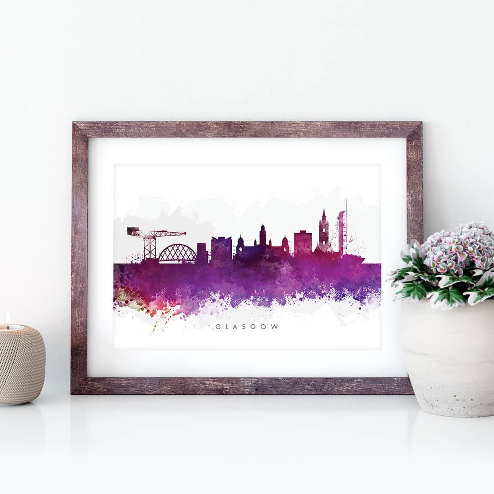 glasgow skyline purple watercolor print closeup