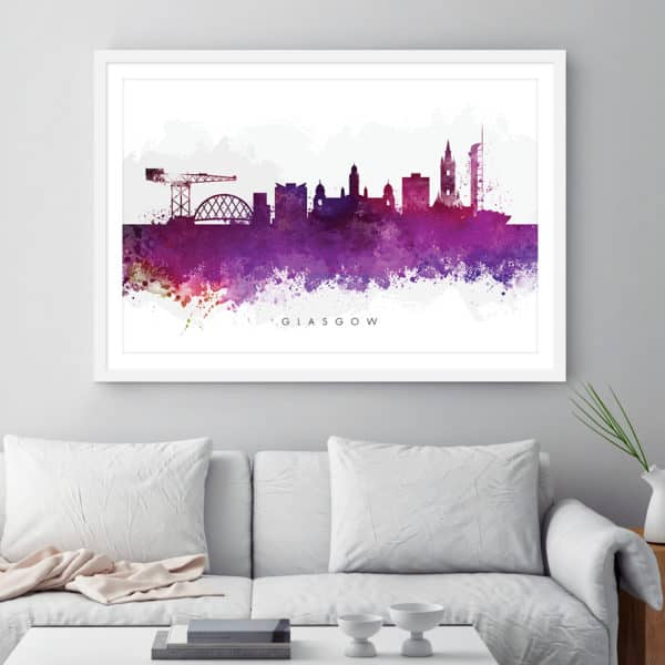 glasgow skyline purple watercolor print framed