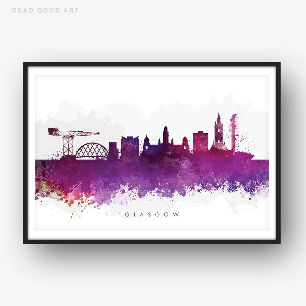 glasgow skyline purple watercolor print