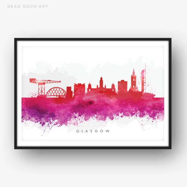 glasgow skyline red watercolor print