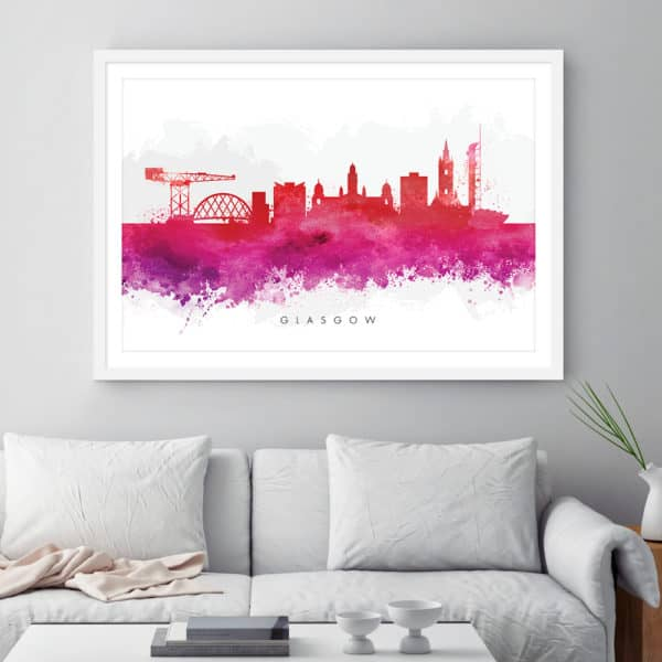 glasgow skyline red watercolor print Framed