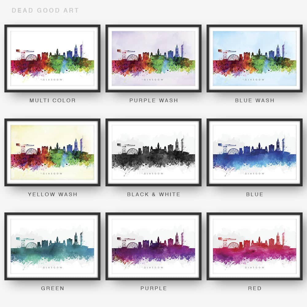 glasgow skyline watercolor print 9 options
