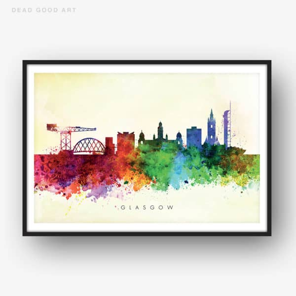 glasgow skyline yellow wash watercolor print