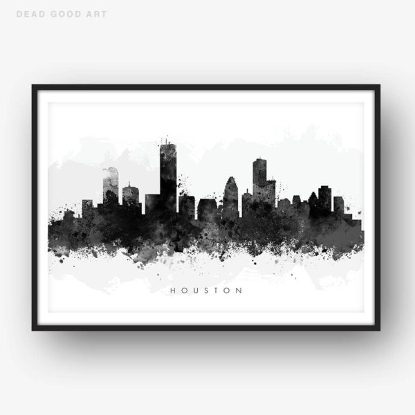 houston skyline black white watercolor print